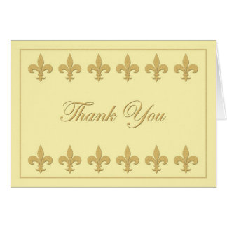 Fleur-de-lis on Light Yellow Thank You Card