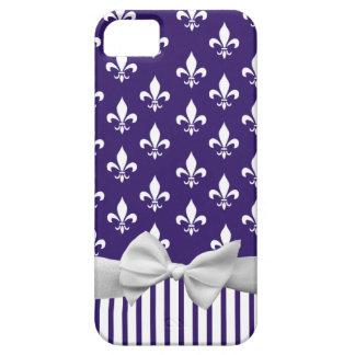 Fleur de lis on navy blue with Stripes & white bow iPhone SE/5/5s Case