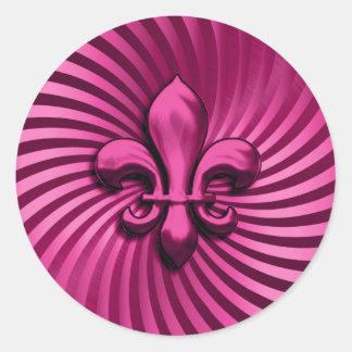 Fleur de Lis on Pink Background Classic Round Sticker