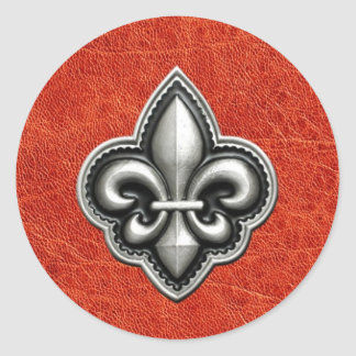Fleur de Lis on Red Leather Look Round Sticker