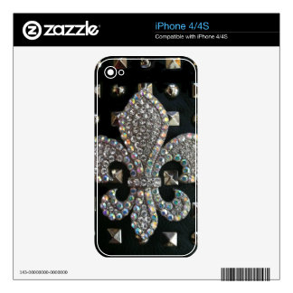 Fleur de lis on studs black and gray print decal for iPhone 4