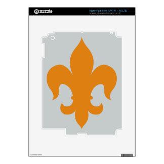 Fleur De Lis - Orange Skins For iPad 3
