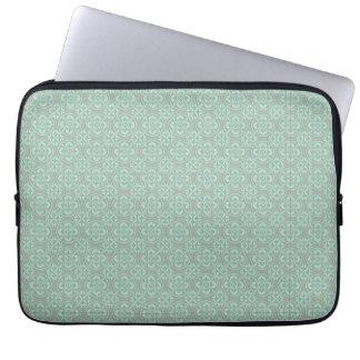 Fleur De Lis Pattern - Bright Mint and Khaki Laptop Sleeve