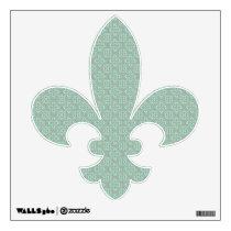 Fleur De Lis Pattern - Bright Mint and Khaki Wall Decal