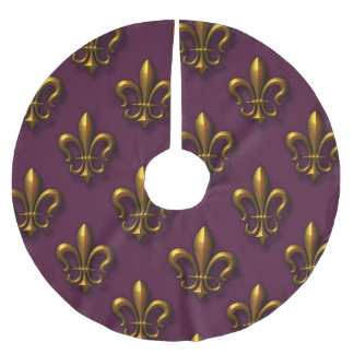 Fleur De Lis Pattern Brushed Polyester Tree Skirt