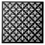 Fleur de Lis Pattern Ebony Tile