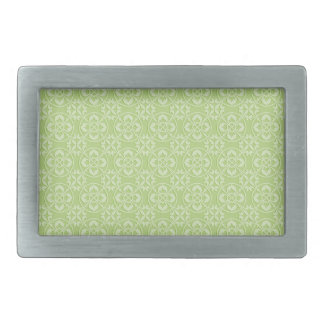 Fleur De Lis Pattern in Apple Green Rectangular Belt Buckle