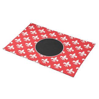 Fleur-de-lis pattern on Red Cloth Placemat