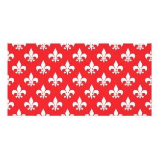 Fleur-de-lis pattern on Red Photo Card