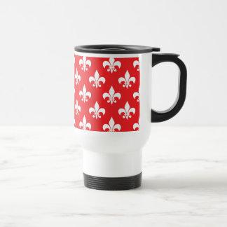Fleur-de-lis pattern on Red Travel Mug