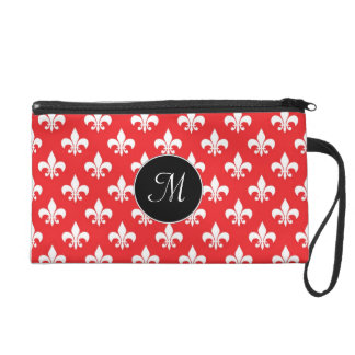 Fleur-de-lis pattern on Red Wristlet