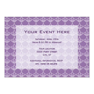 Fleur de Lis Pattern Party Invitation Purple White