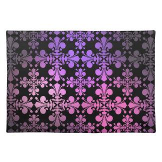 Fleur de lis pattern pink purple black cloth placemat