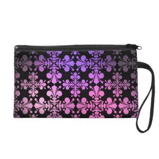 Fleur de lis pattern pink purple black wristlet purse