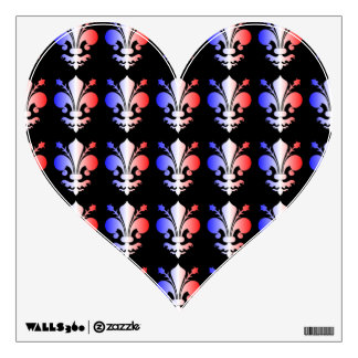 Fleur de lis pattern red white and blue wall graphics