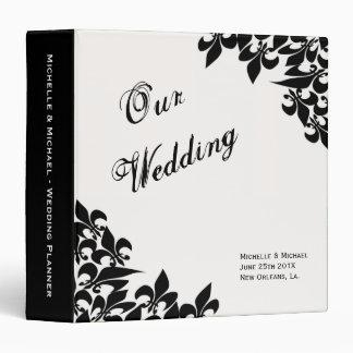 Fleur de Lis Pattern Wedding Planner 3 Ring Binder