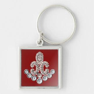 Fleur De Lis-pearls Silver-Colored Square Keychain