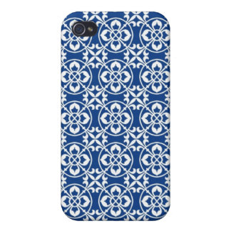 Fleur De Lis Pern in Blue and White iPhone 4/4S Covers