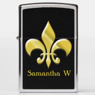 Fleur De Lis Personalized Yellow-Gold Black Zippo Lighter