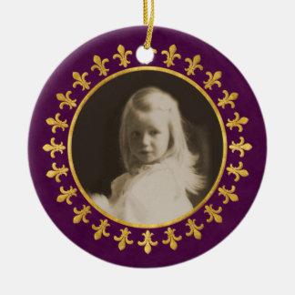 Fleur-de-lis Photo Frame Double-Sided Ceramic Round Christmas Ornament