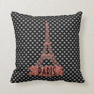 Fleur De Lis Pink Eiffel Tower Paris Girly Glitter Throw Pillow
