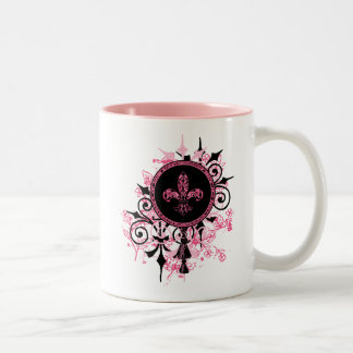 Fleur de lis Pink Gifts Two-Tone Coffee Mug