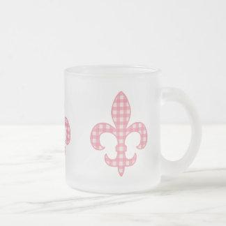 Fleur de lis Pink Gingham mug