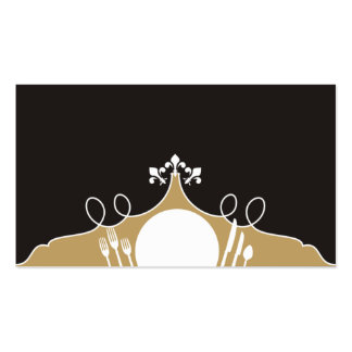 fleur de lis plate setting chef catering business Double-Sided standard business cards (Pack of 100)