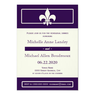 Fleur de Lis Poster Style Rehearsal Dinner 5x7 Paper Invitation Card