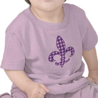 Fleur de lis Purple Gingham infant t-shirt