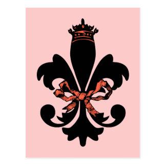 Fleur de lis Queen with bow Postcard