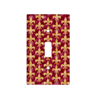 Fleur-de-Lis Red and Gold Light switch cover