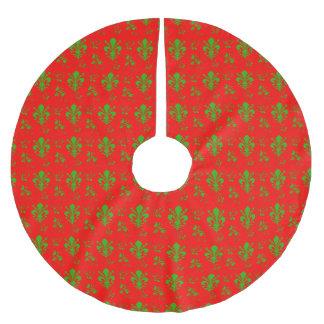 Fleur de Lis Red and Green Christmas Tree Skirt