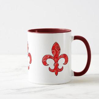 Fleur de lis Red Bandana Mug