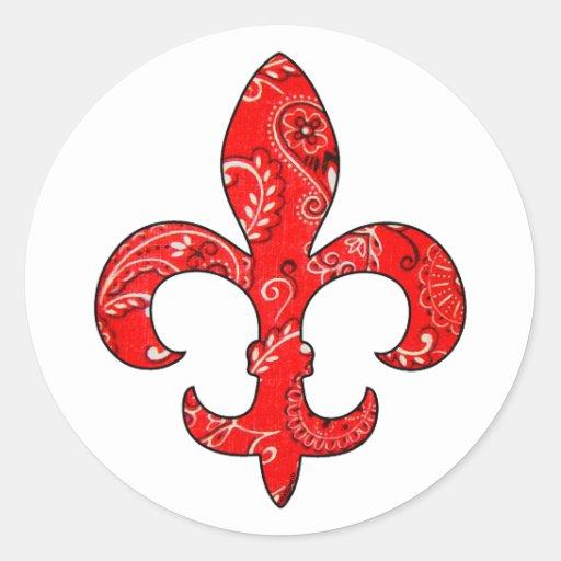 Fleur De Lis Red Bandana Stickers Zazzle