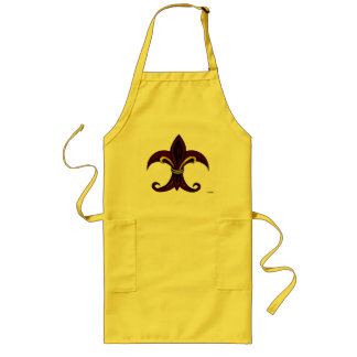 Fleur de Lis Red/Gold Long Apron