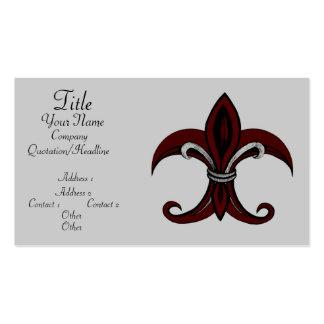 Fleur de Lis Red/Silver Business Cards