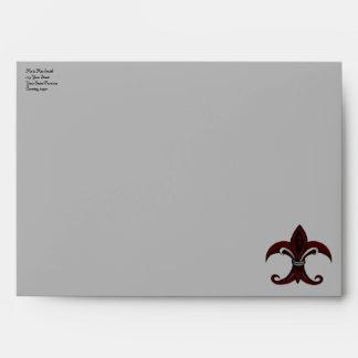 Fleur de lis red silver envelope