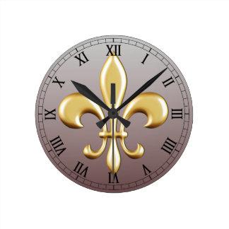 Fleur de Lis Round Clock