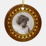 Fleur-de-lis Round Photo Frame Double-Sided Ceramic Round Christmas Ornament