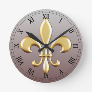 Fleur de Lis Round Wall Clocks