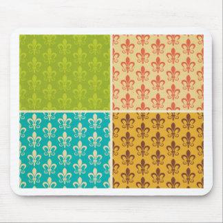 Fleur de lis,Royal crest, multi color Mousepads