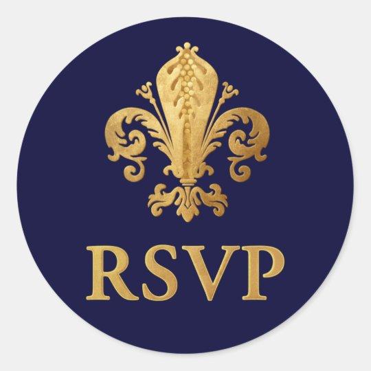 Fleur-de-lis RSVP Classic Round Sticker