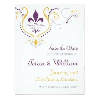 Fleur de Lis Save the Date 4.25x5.5 Paper Invitation Card