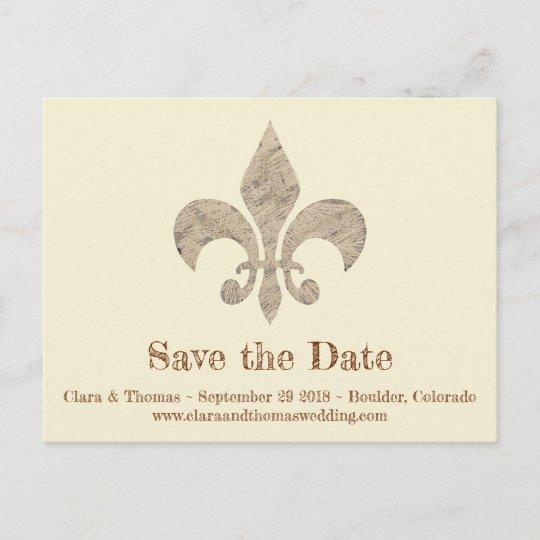 Fleur De Lis Save The Date Simple Elegant Wedding Announcement