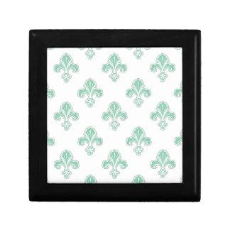 Fleur-de-lis, Seafoam Green & White Trinket Boxes