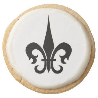 Fleur-De-Lis Shortbread Round Premium Shortbread Cookie