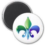 Fleur-de-Lis:  Signature Patterns by Naveen 2 Inch Round Magnet
