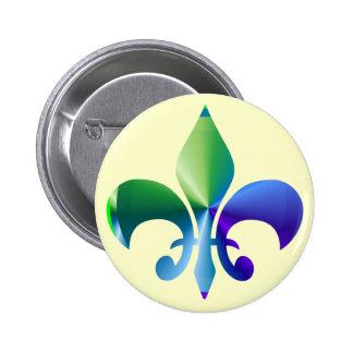 Fleur-de-Lis:  Signature Patterns by Naveen 2 Inch Round Button