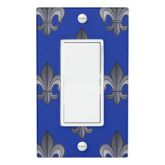 Fleur de lis Silver and Blue Light Switch Cover